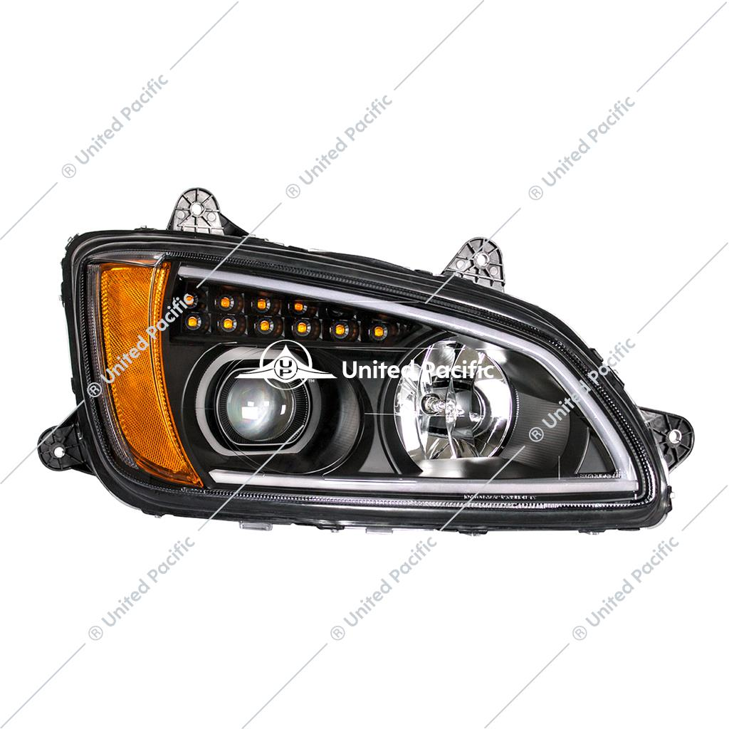 """Blackout"" Projection Headlight W/LED Turn Signal & Position Light For 2008-2017 Kenworth T660 -Passenger"