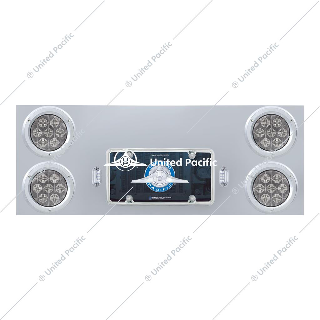 "SS Rear Center Panel With 4X 7 LED 4"" Light & Bezel - Red LED/Clear Lens - Competition Series"