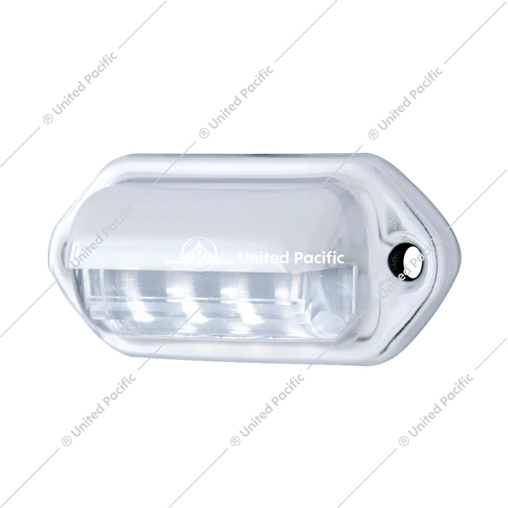 4 White LED Chrome License Plate Light/Utility Light