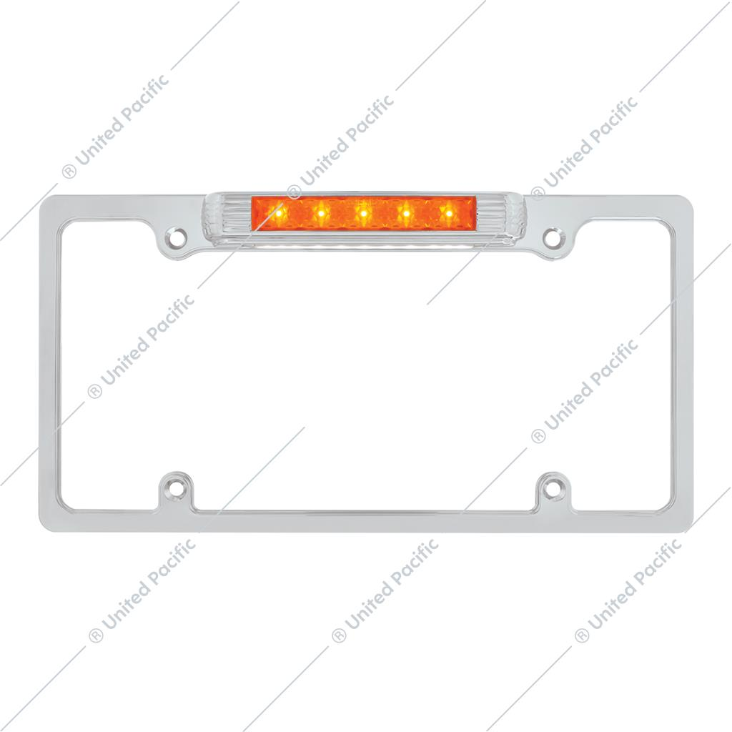 Chrome License Plate Frame With Auxiliary Light - Amber LED/Amber Lens