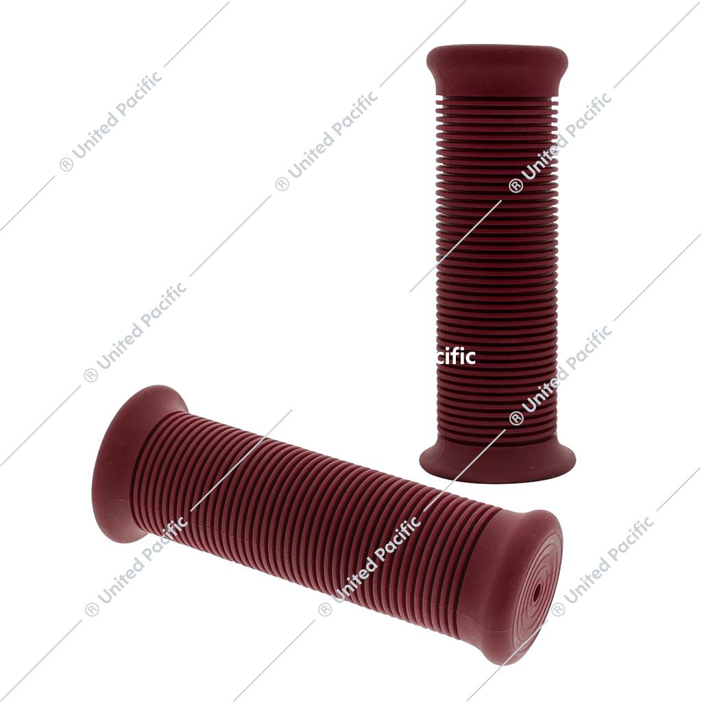 "Red Motorcycle Rubber Grip Set - 1"" or 1 1/8"" (25/28mm) (Pair)"