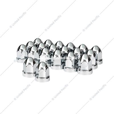 "33mm X 2 3/4"" Chrome Plastic Bullet Nut Cover W/ Flange - Push-On (Box of 20 )"