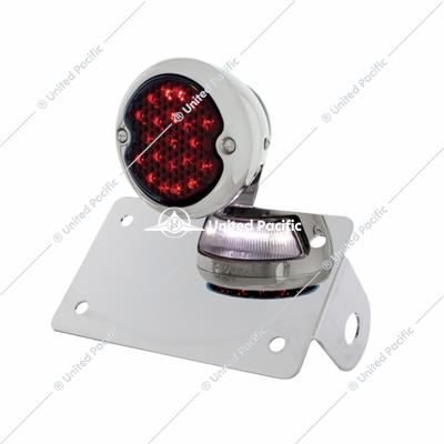 Chrome Horizontal Side Mount License Bracket With 1933-36 Ford Style LED Tail Light