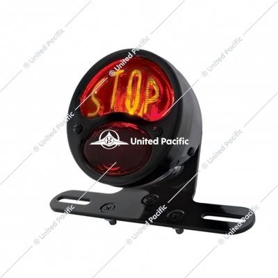 "DUO Lamp Motorcycle Rear Fender Tail Light With Red Glass Lens & ""STOP"" Lettering"
