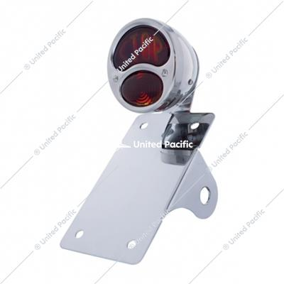 "Chrome Vertical Side Mount License Bracket With 1928 ""STOP DUO Lamp"" Tail Light"