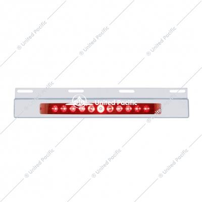 "Stainless Top Mud Flap Plate w/ 11 LED 17"" Light Bar - Red LED/Red Lens"