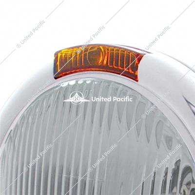 Chrome Classic Headlight H4 Bulb & Turn Signal - Amber Lens