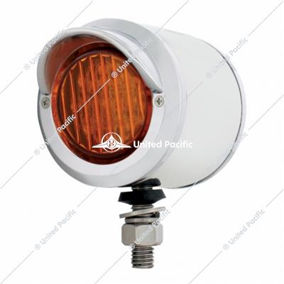 "Stainless 2"" Double Face Light w/ 9 LED 2"" Lights & Visors - Amber & Red LED/Amber & Red Lens"