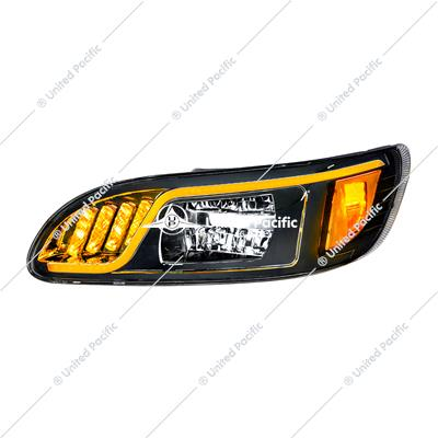 """Blackout"" Hi-Power LED Headlight W/ LED Turn, Position, & DRL For 2005-2015 PB 386 & 1999-2010 387 -Driver"