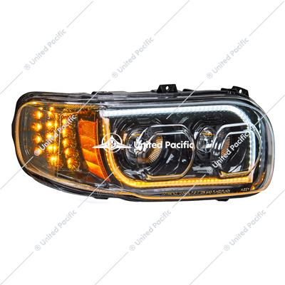 "High Power LED ""Blackout"" Headlight W/16 LED Turn & 57 LED Bar For 2008-15 PB 388 & 2008-2021 389-Passenger"