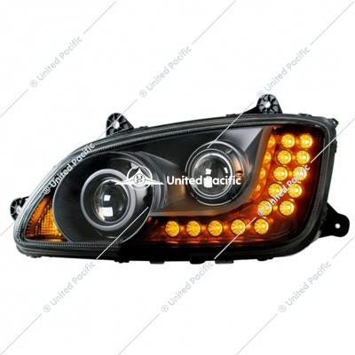 """Blackout"" Projection Headlight Assembly For 2008-2017 Kenworth T660 -Driver"