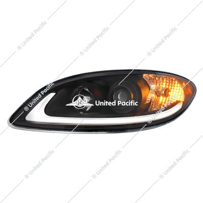 Black Projection Headlight With LED Light Bar For International Prostar -Driver/Left