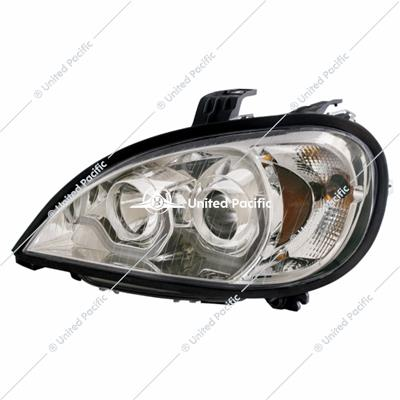Chrome Projection Headlight W/Dual Function Light Bar For 2001-2020 Freightliner Columbia -Driver
