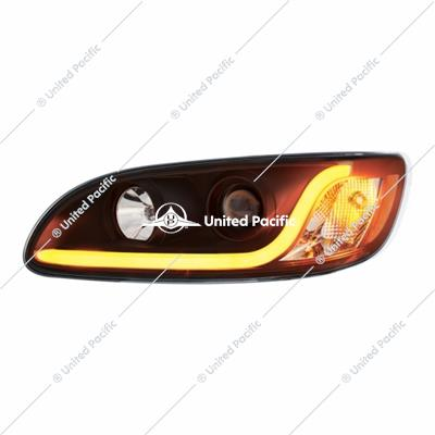 """Blackout"" Projection Headlight W/ LED Dual Function Light Bar For 2005-2015 PB 386 & 1999-2010 387 -Driver"