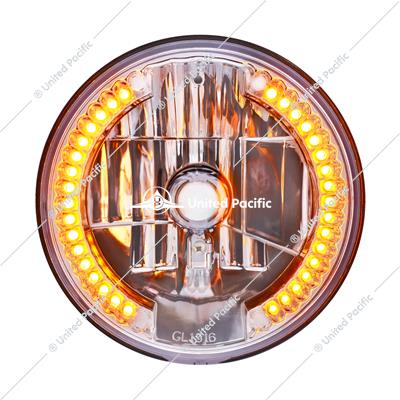 "ULTRALIT - 7"" Crystal Headlight With 34 Amber LED Position Light"