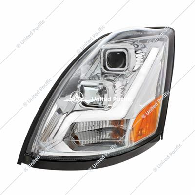 Chrome Projection Headlight W/LED Position Light Bar For 2003-2017 Volvo VN/VNL -Driver