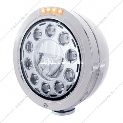 Stainless Bullet Classic Headlight 11 LED Bulb With Dual Mode LED Signal - Clear Lens
