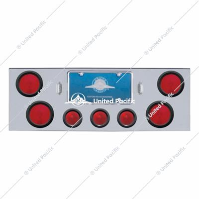 "Chrome Rear Center Panel With Four 4"" Lights & Three 2-1/2"" Beehive Lights & Grommets"