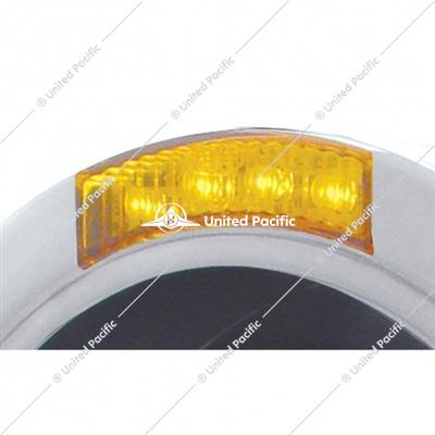 Stainless Steel Bullet Half Moon Headlight No Bulb With LED Turn Signal - Amber Lens