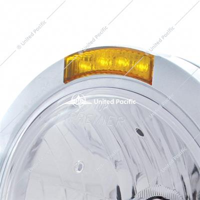 Stainless Steel Bullet Classic Headlight Crystal H4 Bulb & LED Turn Signal - Amber Lens