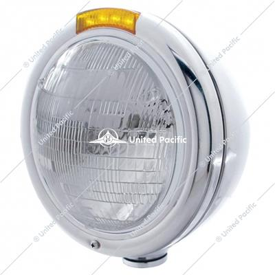 Stainless Steel Classic Headlight 6014 Bulb & LED Turn Signal - Amber Lens