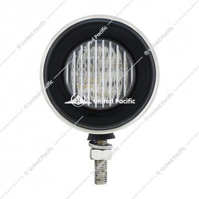 "Stainless 2-1/2"" Double Face Light With 13 LED 2-1/2"" Lights & Grommets - Amber & Red LED/Clear Lens"