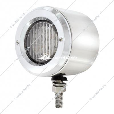 "Stainless 2-1/2"" Double Face Light With 13 LED 2-1/2"" Lights & Bezels - Amber & Red LED/Clear Lens"