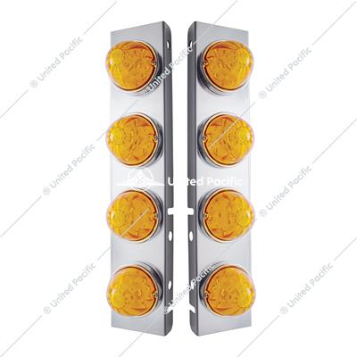 PB SS Front Air Cleaner Bracket w/8X 17 LED Watermelon Lights & SS Bezels -Amber LED & Lens
