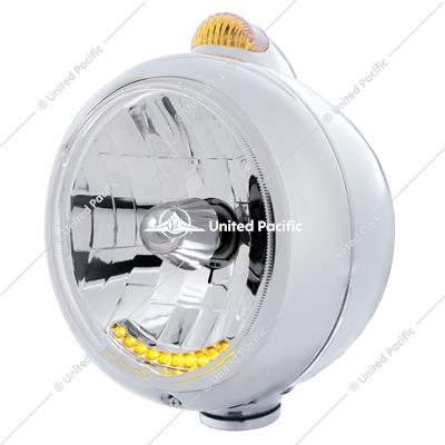 Chrome Guide 682-C Headlight H4 With 10 Amber LED & Dual Mode LED Signal - Amber Lens