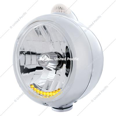 Chrome Guide 682-C Headlight H4 With 10 Amber LED & Dual Mode LED Signal - Clear Lens