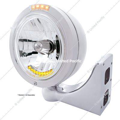 Stainless Steel Bullet Classic Headlight H4 With 10 Amber LED & LED Signal - Clear Lens
