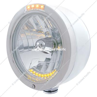 Stainless Steel Bullet Half Moon Headlight H4 With 10 Amber LED & Dual Mode LED Signal-Clear Lens