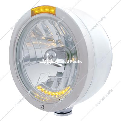 Stainless Steel Bullet Half Moon Headlight H4 With 10 Amber LED & Signal - Amber Lens