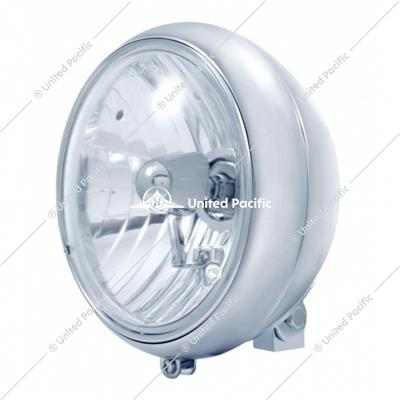 "7"" Motorcycle Headlight With Crystal H4 Halogen Bulb"