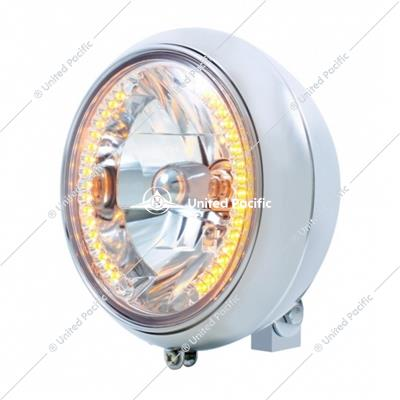"7"" Motorcycle Headlight With 34 Amber LED Bulb"