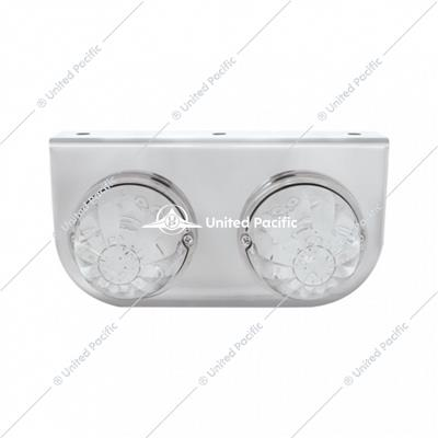 Stainless Light Bracket w/ Two 17 LED Watermelon Lights - Amber LED/Clear Lens