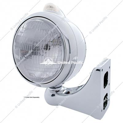 Stainless Steel Guide 682-C Headlight H6024 & Dual Mode LED Signal - Clear Lens