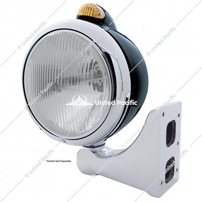 Black Guide 682-C Headlight H4 & Dual Mode LED Signal - Amber Lens