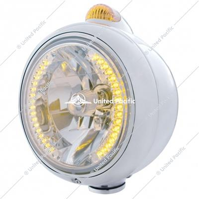 Stainless Steel Guide 682-C Headlight H4 With Amber LED & Dual Mode LED Signal-Amber Lens
