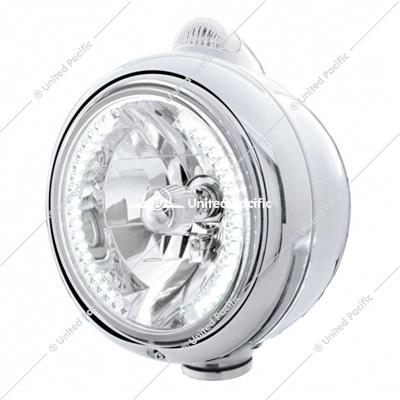 Stainless Steel Guide 682-C Headlight H4 With White LED & Dual Mode LED Signal - Clear Lens