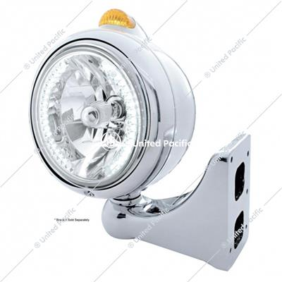 Chrome Guide 682-C Headlight H4 With White LED & Dual Mode LED Signal - Amber Lens