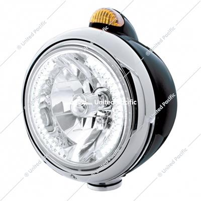 Black Guide 682-C Headlight H4 With White LED & Dual Mode LED Signal - Amber Lens