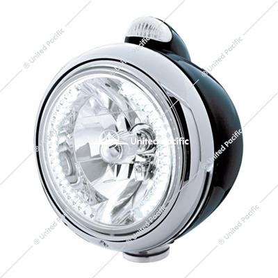 Black Guide 682-C Headlight H4 With White LED & LED Signal - Clear Lens