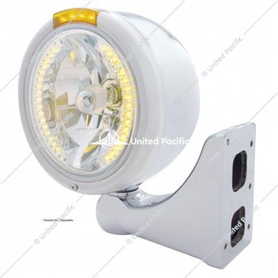 Stainless Steel Classic Half Moon Headlight H4 With Amber LED & Signal - Amber Lens