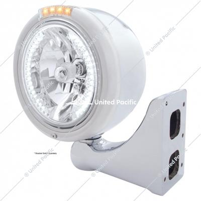 Stainless Steel Classic Half Moon Headlight H4 With White LED & Signal - Clear Lens