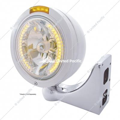 Stainless Steel Bullet Classic Headlight H4 With Amber LED & Dual Mode LED Signal - Amber Lens