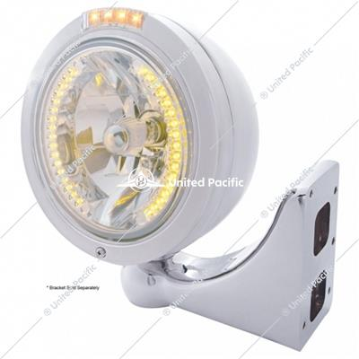 Stainless Steel Bullet Classic Headlight H4 With Amber LED & Signal - Clear Lens