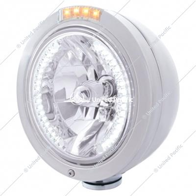Stainless Steel Bullet Classic Headlight H4 With White LED & Signal - Clear Lens