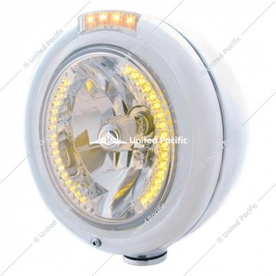 Stainless Steel Classic Headlight H4 With 34 Amber LED & Signal - Clear Lens