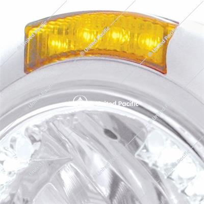 Stainless Steel Classic Headlight H4 With 34 White LED & Signal - Amber Lens